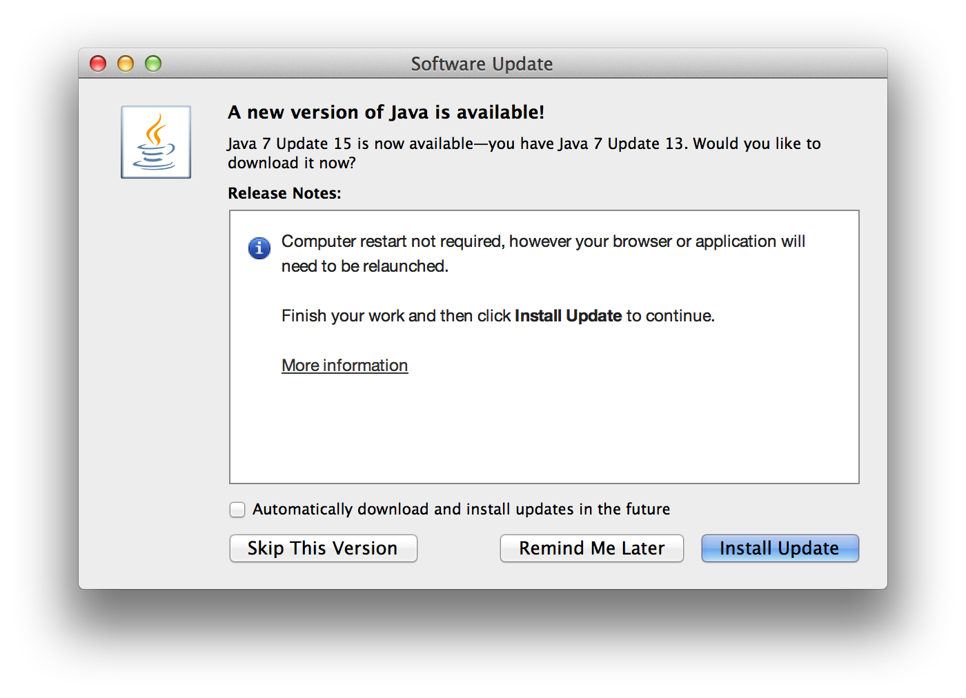 Everything You39ll Wish You Didn39t Know About Disabling Java 7 Updates. Java Update Asked For Password Macrumors Forums Java Auto Updater
